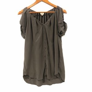 Wilfred Silk Blouse Short Sleeves Slit Grey Small